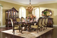 AICO Chateau Beauvais 9-Piece Rectangular Dining Set in Noble Bark - Formal Dining Sets - Dining Sets by Dining Rooms Outlet