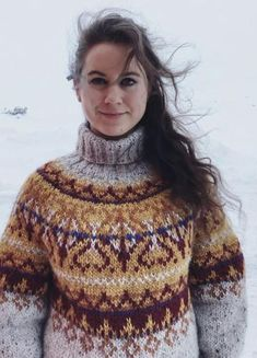 Icelandic Sweaters, Fair Isle Knitting Patterns, Girls Sweaters, Sweater Outfits, Color Inspiration, Tweed, Turtle Neck, Pullover, Wool