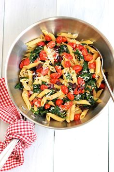 Pasta with sautéed cherry tomatoes and spinach | Green Valley Kitchen