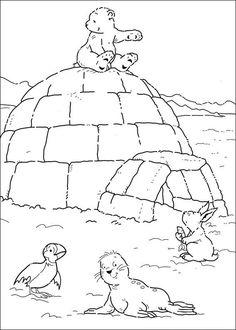 Print Kleine ijsbeer op iglo kleurplaat