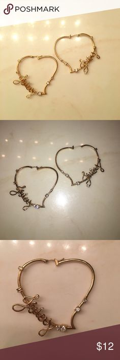 "Juicy Couture gold heart hoop earrings Juicy Couture gold hoop heart earrings for pierced ears.  Each earring says ""Juicy"" in cursive with a diamond to dot the ""i"".  Each earring has a total of 7 diamonds - all in tact and none missing! Juicy Couture Jewelry Earrings"
