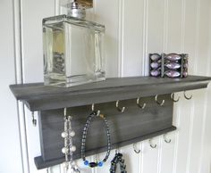 "Modern Rustic Design Jewelry Organizer  Necklace Bracelet Holder 12"" Wall Mounted Hanger Gray Finish Handmade Cedar Wood"