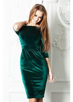 Дизайнерское+бархатное+платье-футляр+изумрудного+цвета+на+красной+атласной+подкладке.