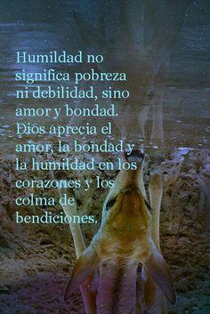 Humildad no significa pobreza ni debilidad, sino amor y bondad. Dios aprecia el amor, la bondad y la humildad en los corazones y los colma de bendiciones.