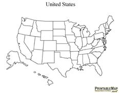Print State Outline Map of the USA. Printable US State Outline Map. Print free blank State Outline Map of the United States of America.