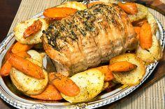 Szaftos, omlós, zöldséges sertéssült: egyszerre sül a hús és a köret Pot Roast, Sausage, Pork, Turkey, Cooking Recipes, Ethnic Recipes, Baked Pork Loin, Bacon, Easy Recipes