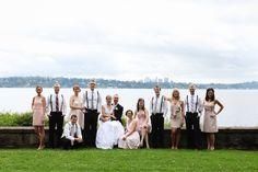 wedding party by lake washington seattle wedding photographer Washington Arboretum