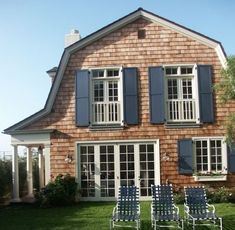 cedar shake stain color & navy shutters