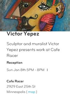 Race over to Cafe @2929 E 25th St for #artopening of muralist tonight! Hot colors to warm a cold Sunday evening.