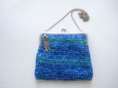 Hand Knitted Wool Purse Blue and Green Colored by nilknitting