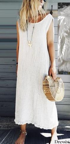 Crew Neck Women Dresses Shift Daily Boho Plain Dresses – linenlooks This shift dress features crew neck with sleeveless and crew neck, suitable for beach and holiday. Linen Dresses, Sleeveless Dresses, Shift Dresses, Maxi Dresses, Plain Dress, Vacation Dresses, Summer Dresses For Women, Dress Summer, Types Of Sleeves