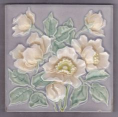 Art Nouveau Majolica tile (German Meissen fliese)