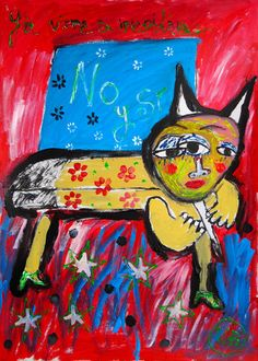"""""""Ya viene a incordiar"""" de Victoria Barranco @ VirtualGallery.com - Pintura acrílica en cartón de 50x70 cm (19.7x27.6 in). Arte marginal. Gato con nariz de cono. (2015)"""