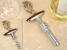 Murano Art Deco Unique Wine Opener - Wine Stopper Combination Set With Swirl Top Design