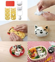 Neko Onigiri Set ~ rice mold, cutting board, and nori punch set, with pawprin. Bento Box Lunch For Kids, Bento Kids, Bento And Co, Cute Bento Boxes, Japanese Bento Box, Japanese Food Art, Bento Tutorial, Kawaii Bento, Bento Recipes