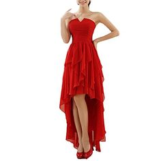 Vivians Bridal Hilow Strapless Ruffles Chiffon Red Evening Prom Dresses26W >>> Check this awesome product by going to the link at the image-affiliate link. #SweatersForWomen