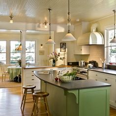 ~ LOVE THE WHITE BEADBOARD ON THE CEILING & THE LIGHT YELLOW BEADBOARD ON THE WALL ~ LOVE THE WHITE CABINETS & THE GREEN CABINETS/KITCHEN BAR WITH THE DARK COUNTER TOPS & WOOD FLOORS ~ Beadboard Design, Pictures, Remodel, Decor and Ideas - page 7