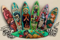 Fieldey is an urban artist who custom paints surfboards and skateboards with old-school tattoo style characters in Perth, Western Australia School Painting, Surfboard Art, Surf Art, Skateboards, Western Australia, Custom Art, Art Google, Old School, Street Art