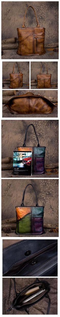 Handmade Vegetable Tanned Leather Tote Bag Shoulder Bag Shopper Bag in Vintage Brown DD103