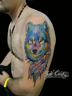 Watercolor wolf tattoo Done at ROCK CITY TATTOO SHOP By Tato Castro Tag your friends if you like this. Follow us!!!!! https://instagram.com/tatotattoos/