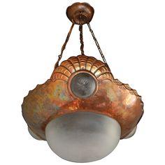 Swedish Arts & Crafts Seashell Fixture in Hand-Hammered Copper, circa 1910