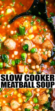 SLOW COOKER ITALIAN MEATBALL SOUP RECIPE- Easy crockpot soup, homemade with simple ingredients.  Loaded with Italian seasoning, pasta, frozen vegetables and meatballs. Can add shredded, chicken, turkey and even tortellini or rigatoni pasta. From SlowCookerFoodie.com #slowcooker #crockpot #italian #soup #meatballs #dinner Easy Italian Meatballs, Italian Meatball Soup, Italian Soup, Italian Recipes, Slow Cooker Chili, Best Slow Cooker, Slow Cooker Recipes, Crockpot Recipes, Cooking Recipes