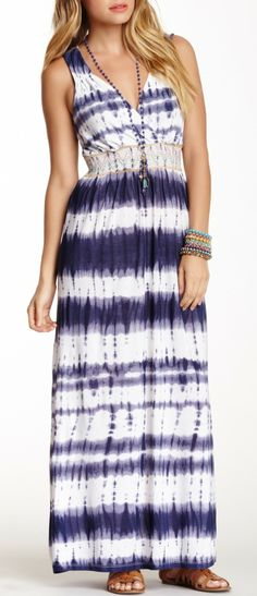 Embroidered Smocked Maxi Dress