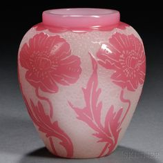 Steuben Cameo Vase, Baluster-Form, Double-Etched Poppy Pattern In Rose Cased Over, Polished Pontil, Bearing Accession Number From The Corning Museum Of Glass - Corning, New York    c. Early 20th Century