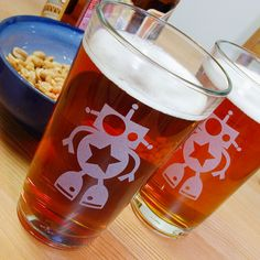 robot pint glasses // via @Creede Fitch