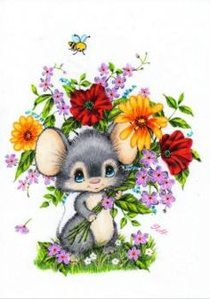 Vintage postcard Cute little mouse with big bouquet of flowers and a bee. In very good vintage condition! Colouring Pages, Adult Coloring Pages, Coloring Books, Illustration Mignonne, Cute Illustration, Vintage Cards, Vintage Postcards, Cute Drawings, Animal Drawings