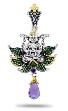 Buddha in Lotus Pendant - Diamond, Tsavorite, Sapphire & Amethyst – Barbara Bixby