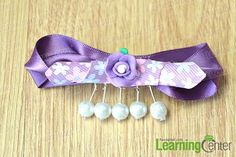 DIY Ribbon Crafts : DIY Unique Purple Ribbon Bow Hair Clip with Pearl Charms