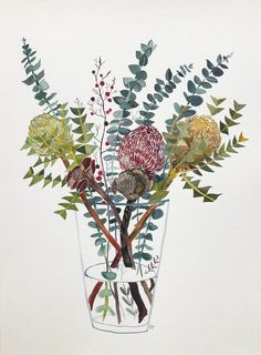 Banksia and Silver Dollar in Glass Vase - Art Lovers Australia Art Floral, Floral Watercolor, Watercolor Paintings, Watercolors, Art And Illustration, Botanical Illustration, Protea Art, Australian Flowers, Australian Art