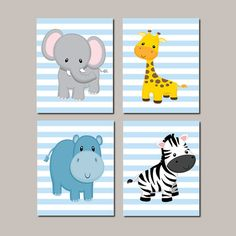 Baby Boy Nursery Art JUNGLE Animals Nursery by LovelyFaceDesigns
