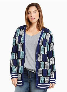 This silky-soft cardigan rocks an out-of-time navy, turquoise and white TARDIS print all over. The button front, deep v neck, and ribbed trim flatter you.