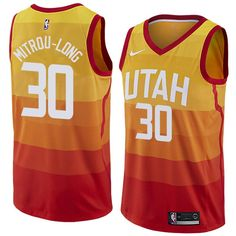 6f8d3c77606 Men 30 Nazareth Mitrou-Long Jersey City edition Yellow Orange Utah Jazz