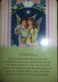 02/06/15 Today's card was drawn from the Guardian Angel Tarot Cards by Doreen Virtue and Radleigh Valentine. Today's card is #17 Celebration. Now is the time for gratitude and joy! The star you see on this ...