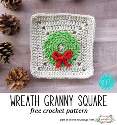 Crochet this easy wreath granny square from Maria's Blue Crayon, a free crochet pattern in my festive crochet christmas wreaths roundup!