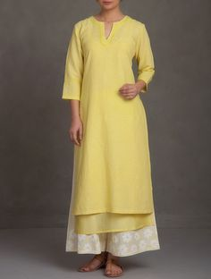 Buy Yellow Embroidered V Neck Cotton-Linen-Chanderi Kurta Online at Jaypore.com