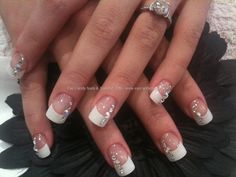 white nail tips with designs - Google Search