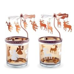 Set of Two Copper Finish Metal & Glass Spinning Christmas Tea Light Holders with Angels & Reindeer