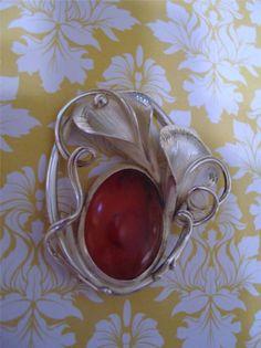 Vintage Estate Brooch Pin 925 Sterling Silver Lily Egg Yolk Amber Nouveau Motif  #Unbranded
