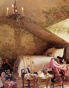 Attic converted into Victorian dream.