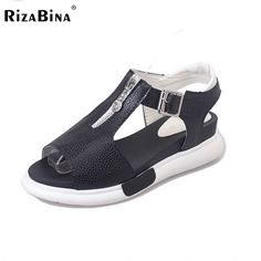 (31.33$)  Buy here - http://aiwp1.worlditems.win/all/product.php?id=32798328211 - Women wedges Sandals Open Toe Shoes T Strap With Zipper Metal Buckle Shoes Women Preppy Chic Platform Lady Footwear Size 35-40