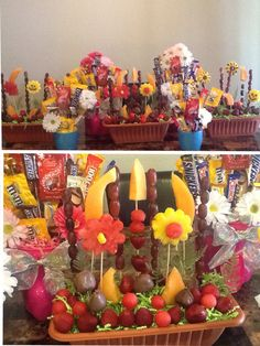 This is my 1st time making these Candy and Fruit Bouquets ... Pretty good if I do say so myself =o]