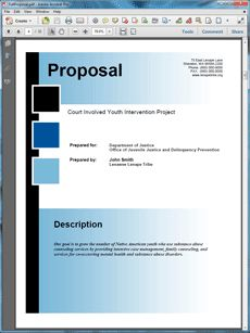 DOJ Federal Government Grant Proposal - The US Department of Justice Federal Government Grant Proposal is an example of a proposal using Proposal Pack to respond to a government RFP. Create your own custom proposal using the full version of this completed sample as a guide with any Proposal Pack. Hundreds of visual designs to pick from or brand with your own logo and colors. Available only from ProposalKit.com (come over, see this sample and Like our Facebook page to get a 20% discount)