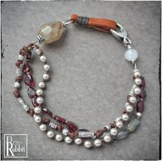 """""""Along For The Ride"""" Garnet, Fine Silver and Leather multistrand, OOAK (SOLD OUT) 
