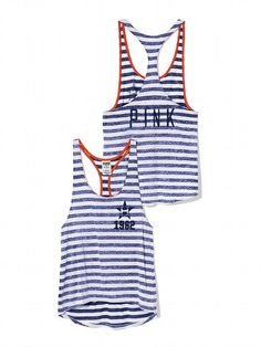 PINK Houston Astros High-Low Striped Tank