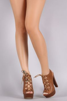 Studded Peep Toe Lace Up Platform Heel