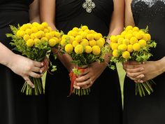 Craspedia bouquets for bridesmaids  (from Allie and Scots Wedding - Sprout Blog)